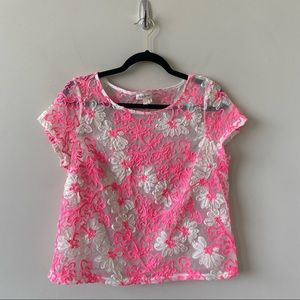 Anthropologie-Meadow Rue Cherry Blossom Sheer Top